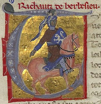 "Rigaut de Berbezilh - Rigaut, with his name spelled ""Richautz de Barbesieu"" above his picture, beside his vida introducing his works in a medieval chansonnier."
