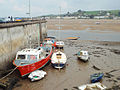 Boats moored below Marine Parade, Appledore, low tide (geograph 4488179).jpg
