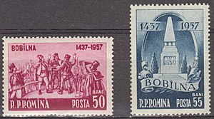 Transylvanian peasant revolt - Pair of commemorative stamps issued by the Romanian People's Republic in 1957