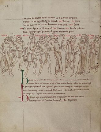 Terence - Mid-12th century illustrated Latin manuscript of Terence's Comedies from St Albans Abbey, now held at the Bodleian Library