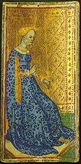 Tarocchi Brera-Brambilla, a sinistra la regina di spade, a destra il fante di coppe