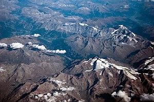 Valfurva - View of Bormio and Valfurva at 10,000m