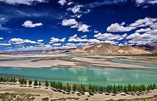Yarlung Tsangpo River in Tibet, upper stream of the Brahmaputra
