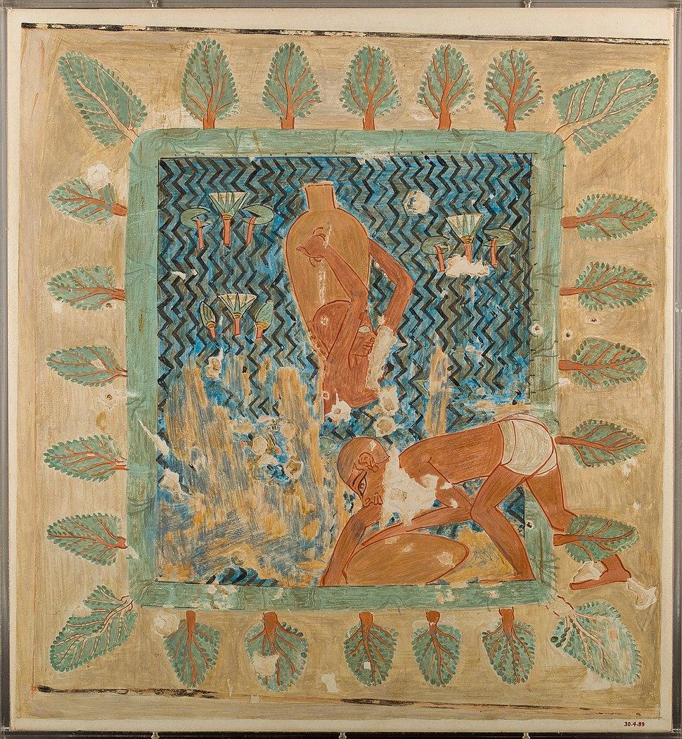 Brickmakers Getting Water from a Pool, Tomb of Rekhmire MET 30.4.89 EGDP012958