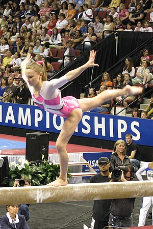 English: Bridget Sloan performs on the balance...