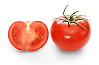 Cross-section and full view of a ripe tomato