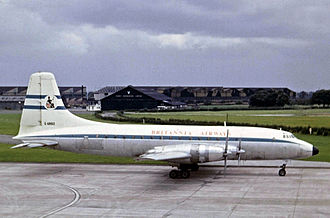 Bristol Britannia - Britannia Airways Britannia Model 102 at Manchester Airport in 1965
