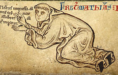 A pen and ink drawing from a medieval manuscript shows the monk kneel and bending forward beneath a line of text