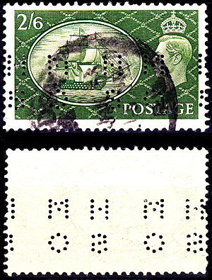Perfin - A 1951 perfin stamp of Great Britain showing front (top) and reverse (bottom).