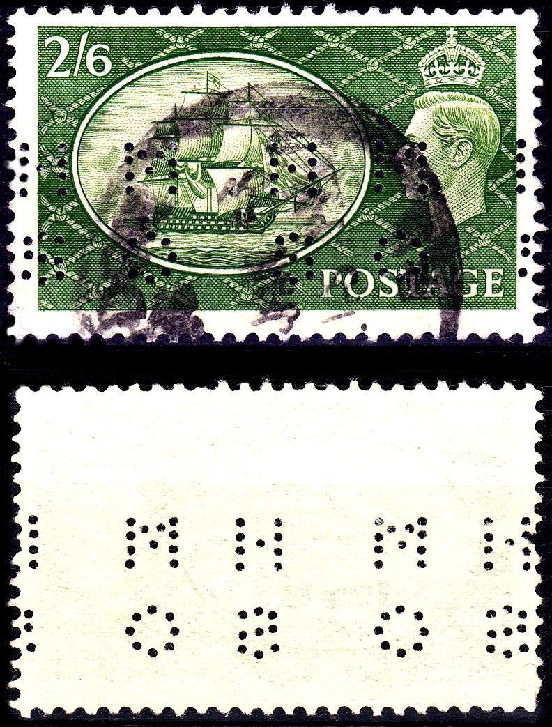 British 1951 Festival stamp perfin
