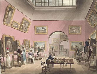 British Institution - The British Institution (Pall Mall) by Rudolph Ackermann – 1808, with artists copying works