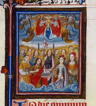 Stephen Jenyns - All Saints: The Coronation of the Virgin above, and St John the Baptist, St George (armour) and St Mary Magdalene (to anoint) with the Agnus Dei below. Left and right, St Stephen and St Margaret. Jenyns Lectionary, fol. 34.