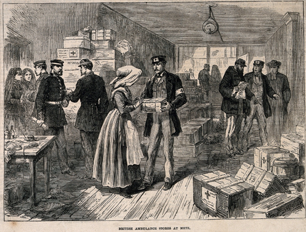 British ambulance stores at Metz during the war British ambulance stores at Metz 1870.png