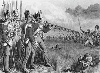 British Army during the Napoleonic Wars - British infantry deployed in line prepare to repulse an advancing French column. Disciplined, short-range musket volleys, followed by a bayonet charge, usually drove off an attacker.