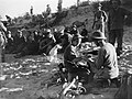 British wounded being treated, and Italian prisoners waiting to be evacuated from the beach on the first day of the invasion of Sicily, 10 July 1943. A17912.jpg