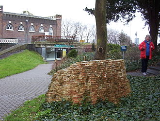 Cruquius, North Holland - Cruquius Museum entrance, showing piece of foundation from first steam mill in the Netherlands