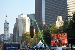"""The Rising (Bruce Springsteen song) - """"The Rising"""" was performed during this October 4, 2008, Change Rocks voter registration rally on behalf of Barack Obama, on Philadelphia's Benjamin Franklin Parkway."""