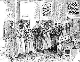 Bukharan Jews - Interior of the Great Synagogue in Bukhara, sketch based on a photograph by Elkan Nathan Adler