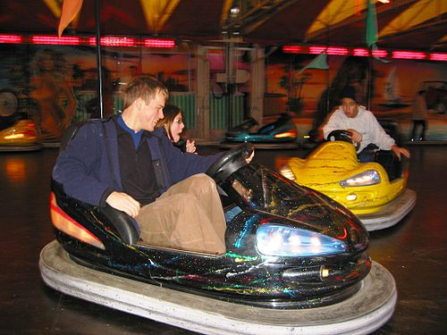 Bumper car at a small fair in Uzès, France. December, 2003. Stunt driver: Jmeppley.
