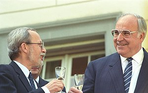 Christian Democratic Union of Germany - East German CDU leader Lothar de Maizière (left) with West German CDU leader Helmut Kohl, September 1990