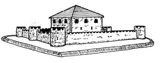 Burgus - Artist's impression of the late Roman burgus of Goch-Asperden (D), core site with outer walls and ditch