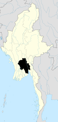 Location of Bago Region in Burma