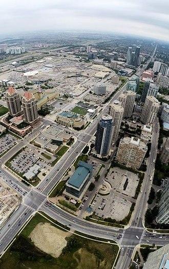 Burnhamthorpe Road - Aerial view of Burnhamthorpe in Mississauga City Centre