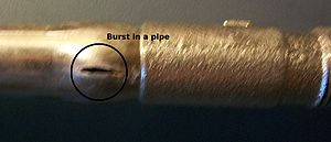 Cross-linked polyethylene - All pipes, including this copper exterior valve as well as PEX, can burst from freezing, although several reports suggest that PEX takes longer to burst under freezing conditions.
