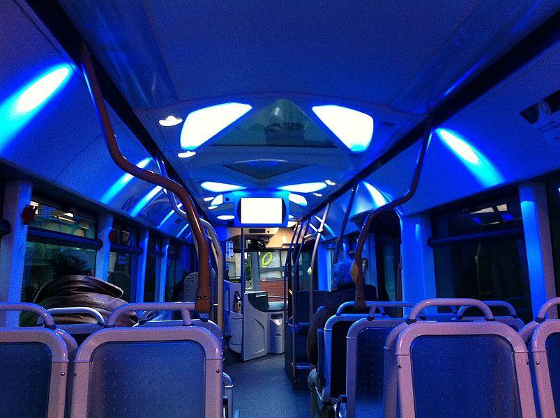 Intérieur d'un HeuliezBus GX 327 sur le réseau Chronoplus du réseau de transport de Bayonne (France)