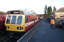Butterley railway station, Derbyshire, England -train at platform-19Jan2014.jpg