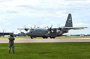 "Minneapolis–Saint Paul Joint Air Reserve Station - A C-130 ""Hercules"" taxis into position for recovery at the Minneapolis-St. Paul International airport on July 11, 2010 after returning from a tour in Afghanistan."