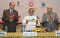 """C.P. Joshi releasing a souvenir at the International Seminar on """"Pre Engineered and Quick Launch Bridges"""" jointly organised by Ministry of Road Transport & Highways, the Railways.jpg"""