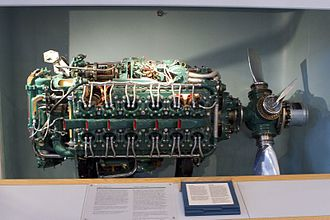 H engine - Napier Sabre H-24 engine.  The two starboard 6-cylinder banks can be seen in this view