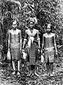 COLLECTIE TROPENMUSEUM Een jonge man en twee meisjes van Dajak afkomst in speciale kleding Borneo TMnr 10005635.jpg