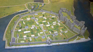 Castles and Town Walls of King Edward in Gwynedd - Reconstruction of Caernarfon Castle and town walls at the end of the 13th century