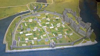 Caernarfon town walls - Model replica showing the town walls shortly after their completion in the 13th century, as seen from the west