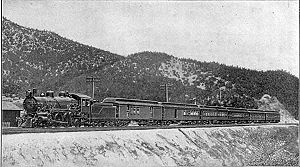 California Limited - The California Limited pauses at the summit of Cajon Pass in 1908.