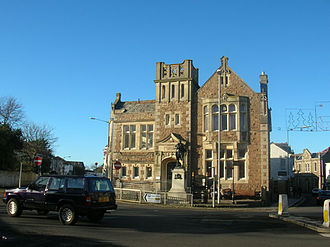 Camborne - Camborne Public Library, with Richard Trevithick's statue in front