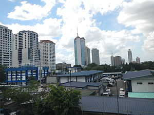 Camp Crame - The blue-roofed Philippine National Police, Camp Crame buildings as viewed from the Santolan MRT Station.