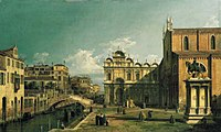 Canaletto - The Campo Santi Giovanni e Paolo, Venice, with the West End of the Church and the Scuola di San Marco.jpg