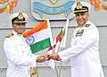Capt. S. Berry exchanging the Baton with Capt. K. Swaminathan, on his taking over the Command of INS Vikramaditya, Indian Navy's new and formidable aircraft carrier, at Karwar on November 02, 2015.jpg