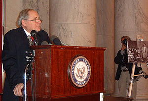 "Carl Levin - Senator Carl Levin announces at a press conference regarding his opposition to the War in Iraq and his willingness to vote ""No"" on the authorization for President George W. Bush to invade Iraq."