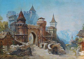 Carlo Brioschi - Old Fortress in Alpine Landscape