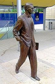 Statue of Cary Grant in Millennium Square, Bristol, England.