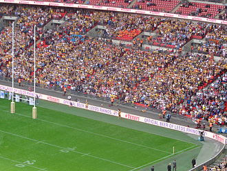 Castleford Tigers - Castleford supporters at Wembley during the 2014 Challenge Cup Final.