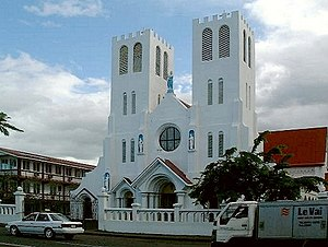 Religion in Samoa - Mulivai Cathedral, Apia (Catholic), Samoa. The earthquake-damaged Cathedral has now been demolished.