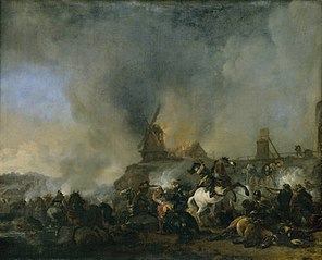 Cavalry in front of a Burning mill