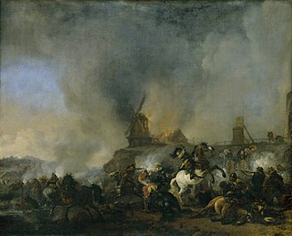 Philips Wouwerman - Cavalry Battle in front of a Burning Mill by Philip Wouwerman (1660s)