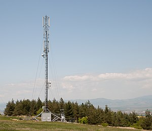 English: Cell phone tower near the village of Lozen, Sofia, Bulgaria..