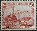 Centenario delle ferrovie - valore da 20 cent - carminio - 1939 - francobollo del Regno D'Italia.jpg